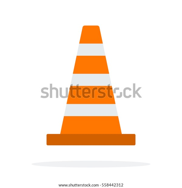 Signal traffic cone vector flat material design object. Isolated illustration on white background.