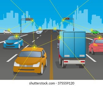 signalized intersection and various vehicle, Traffic and wireless network, Intelligent Transport Systems, Internet of Things, vector illustration