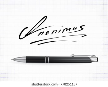 Signature Anonimus Vector Icon. Fictitious signature and realistic ball pen on a traced paper background