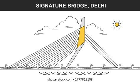 Signature Bridge Flat icon, Tallest structure in Delhi, Reflecting in the Yamuna river new Delhi India