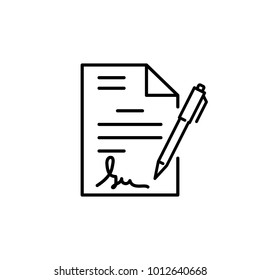signature in documents, icon vector