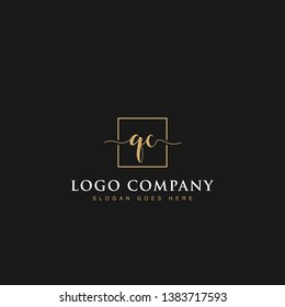 Signature elegant luxurious handwritten Initials letters QC linked inside square line box vector logo designs inspirations in gold colors for brand, hotel, boutique, jewelry, restaurant or company