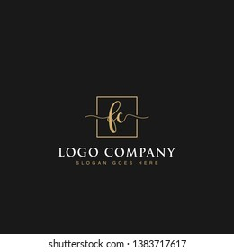 Signature elegant luxurious handwritten Initials letters FC linked inside square line box vector logo designs inspirations in gold colors for brand, hotel, boutique, jewelry, restaurant or company