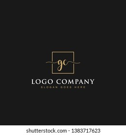 Signature elegant luxurious handwritten Initials letters GC linked inside square line box vector logo designs inspirations in gold colors for brand, hotel, boutique, jewelry, restaurant or company