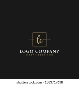 Signature elegant luxurious handwritten Initials letters LC linked inside square line box vector logo designs inspirations in gold colors for brand, hotel, boutique, jewelry, restaurant or company
