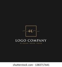 Signature elegant luxurious handwritten Initials letters OC linked inside square line box vector logo designs inspirations in gold colors for brand, hotel, boutique, jewelry, restaurant or company