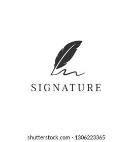 signature feather logo design