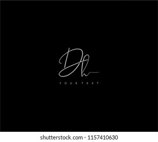 signature handwriting initial DH vector logo