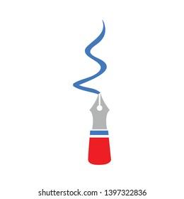 Signature icon. Written pen sign. Education symbol. Classic flat style. flat signature icon. Vector