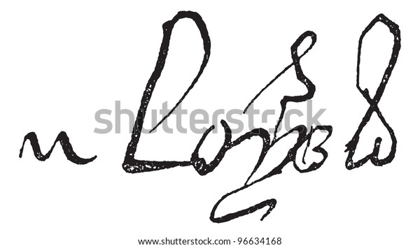 Signature of Louis XI, King of France (1423-1483), vintage engraved illustration. Dictionary of words and things - Larive and Fleury - 1895.