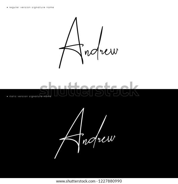 Signature Name Andrew Handwritting Calligraphy Sign Stock