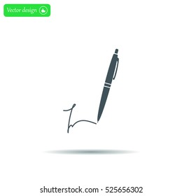 Signature and pen vector icon