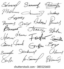 Signatures set fictitious contract signatures business autograph illustration