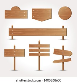 Signboard creation set. Build your own design. Wooden boards of different shapes and sizes. Cartoon style illustration