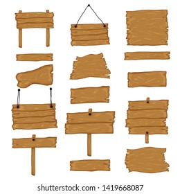 Signboard creation set. Build your own design. Wooden boards of different shapes and sizes. Cartoon style illustration - vector
