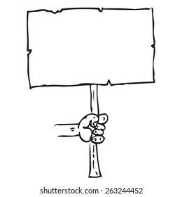 Signboard in hand doodle