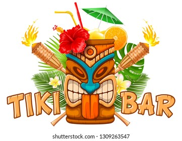 Signboard of Tiki Bar with exotic cocktail in mug with Tiki mask, bamboo torch and tropical plants. Hawaiian traditional elements. Isolated on white background. Vector illustration.