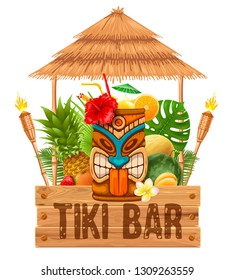Signboard of Tiki Bar with exotic cocktail in mug with Tiki mask, bamboo torch and fruits. Hawaiian traditional elements. Isolated on white background. Vector illustration.