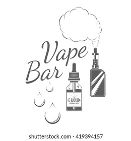 Signboard of vape bar on white background. Monochrome badge and label for vaping cafe advertising or window signage. Vector illustration with e-liquids bottle, box mod, dribs and vapor cloud.