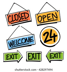 signboards. Open, 24 hours, closed, welcome, exit
