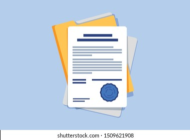Signed contract or document. Document, folder with stamp and text silhouettes. Contract conditions, research or approval validation document. Contract papers, Document. Folder with papers