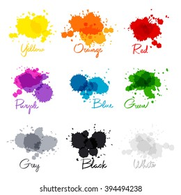 signed the names of colors. colorful watercolor drops.  hand-written name of the color yellow, orange, red, purple, blue, green, grey, black, white. art