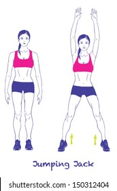 Signed Sports silhouettes of woman doing exercises.Jumping Jack. Others here http://www.shutterstock.com/pic.mhtml?id=198318647