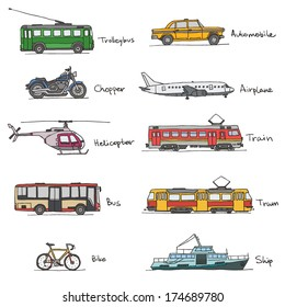 Signed transport vehicles drawings icon set on white background