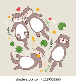 Significant otters isolated on grey