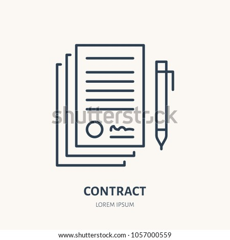Signing Agreement Contract Vector Flat Line Stock Vektorgrafik