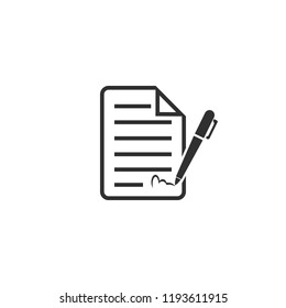 Signing contract icon isolated on white background. Vector illustration. Eps 10.