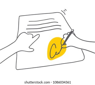 Signing document Man signing document with yellow accent on signature Vector flat linear illustration Pact accord agreement signature icon Hand draw style with thin lines Use as symbol emblem badge