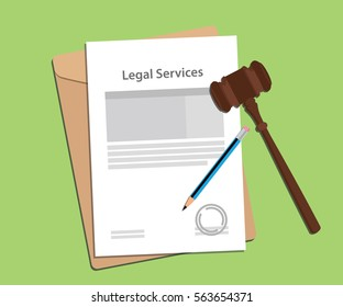 signing legal services concept illustration with paperworks, pen and a judge hammer