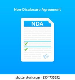 Signing NDA. Non disclosure agreement document. Vector stock illustration.