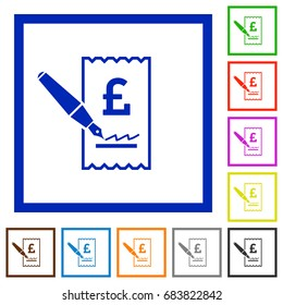 Signing Pound cheque flat color icons in square frames on white background