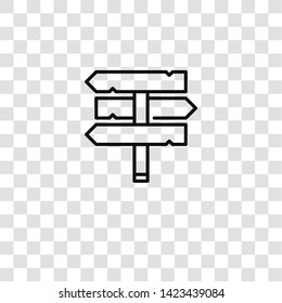 signpost icon from desert collection for mobile concept and web apps icon. Transparent outline, thin line signpost icon for website design and mobile, app development