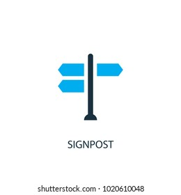 Signpost icon. Logo element illustration. Signpost symbol design from 2 colored collection. Simple Signpost concept. Can be used in web and mobile.