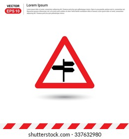 signpost Icon. Red triangle Traffic sign icon. Vector Safety Sign Icon