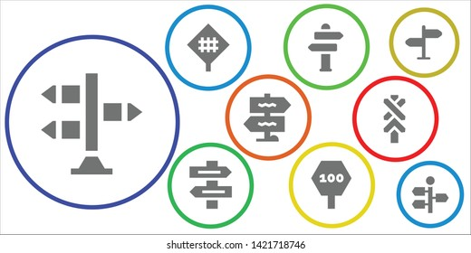signpost icon set. 9 filled signpost icons.  Collection Of - Signpost, Road sign, Sign Post, Direction sign