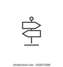 Signpost line icon, outline vector sign, linear style pictogram isolated on white. Direction pointer symbol, logo illustration. Editable stroke