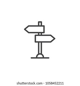 Signpost outline icon. linear style sign for mobile concept and web design. Road pointer line vector icon. Symbol, logo illustration. Vector graphics