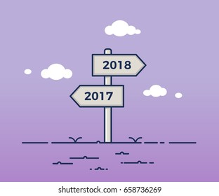 Signpost pointing towards two opposite directions between 2017 and 2018. New year vector illustration concept