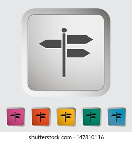 Signpost. Single icon. Vector illustration.