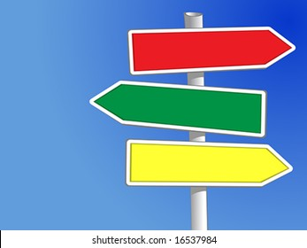 Signpost with three arrows (vector) to add your own text
