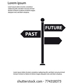 Signpost Vector Icon - Past And Future Concept