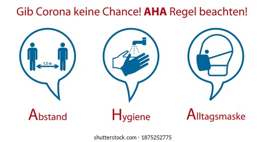 Signs against Covid-19. German text: Don't give Corona a chance! Aha rule heed! (distance, hygiene, everyday mask). Vector