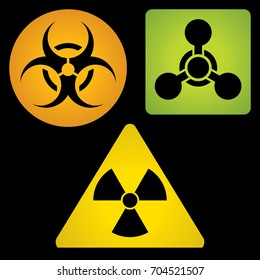 Signs of chemical, biological and radioactive hazard. For your convenience, each significant element is in a separate layer. Eps 10