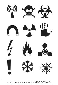 Signs of chemical effects on human, radiation, radiation and explosives. Icons. Vector illustration