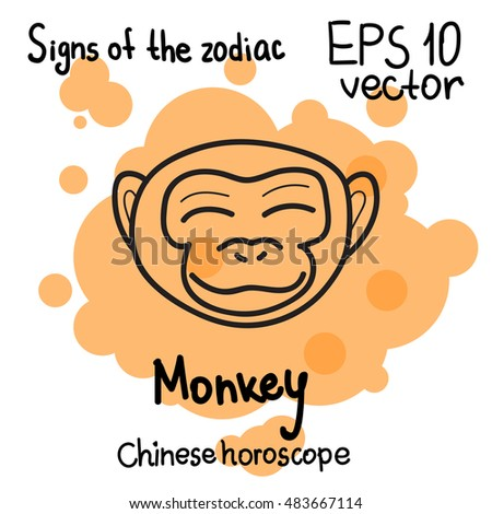 Signs Chinese Horoscope Year Horoscope Hand Stock Vector