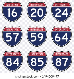 signs collection interstate american highway route symbol vector isolated, traffic road transportation sign USA